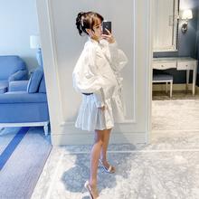 孕妇春装裙子2019新款时尚灯笼袖哺乳孕妇装韩版宽松怀孕期公主裙