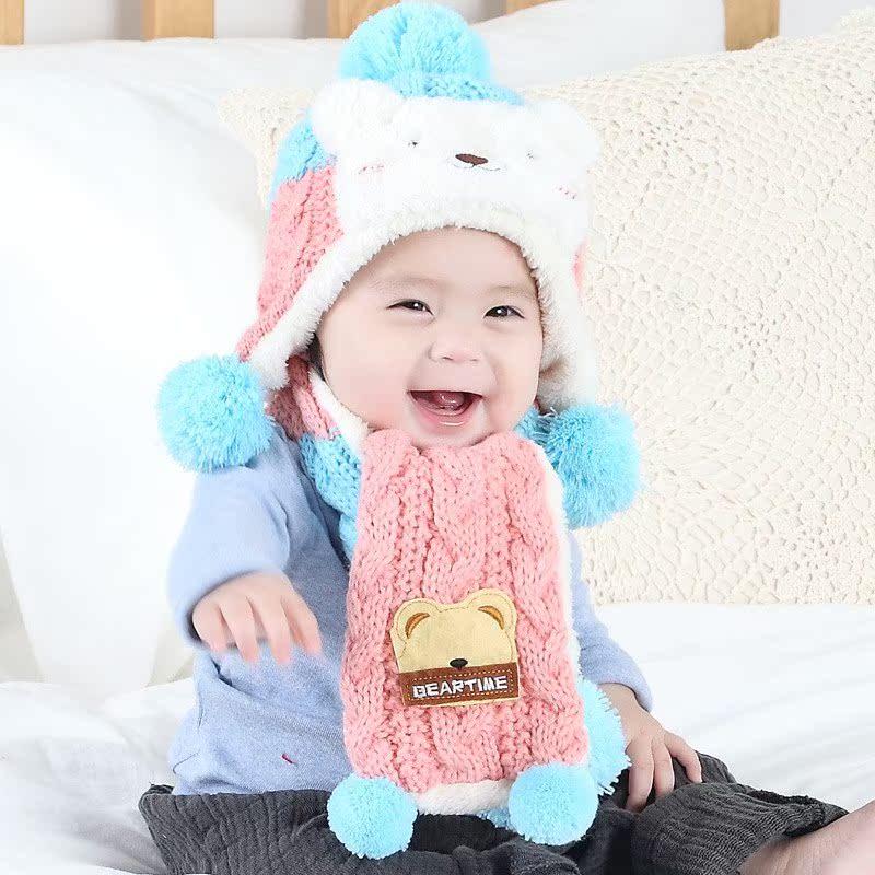 2018秋冬新款手工编织婴儿鞋帽宝宝鞋帽子可爱套装百日摄影满月0-