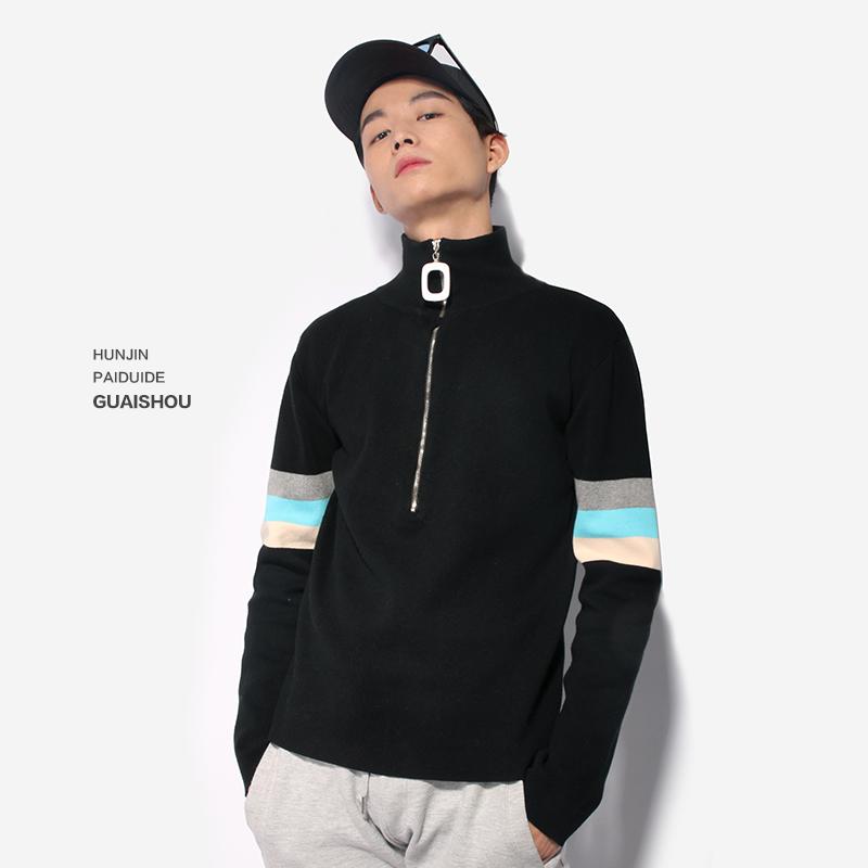 青少年针织衫 黑色高领毛衣男韩版 潮流复古个性 修身 ins权志龙同款