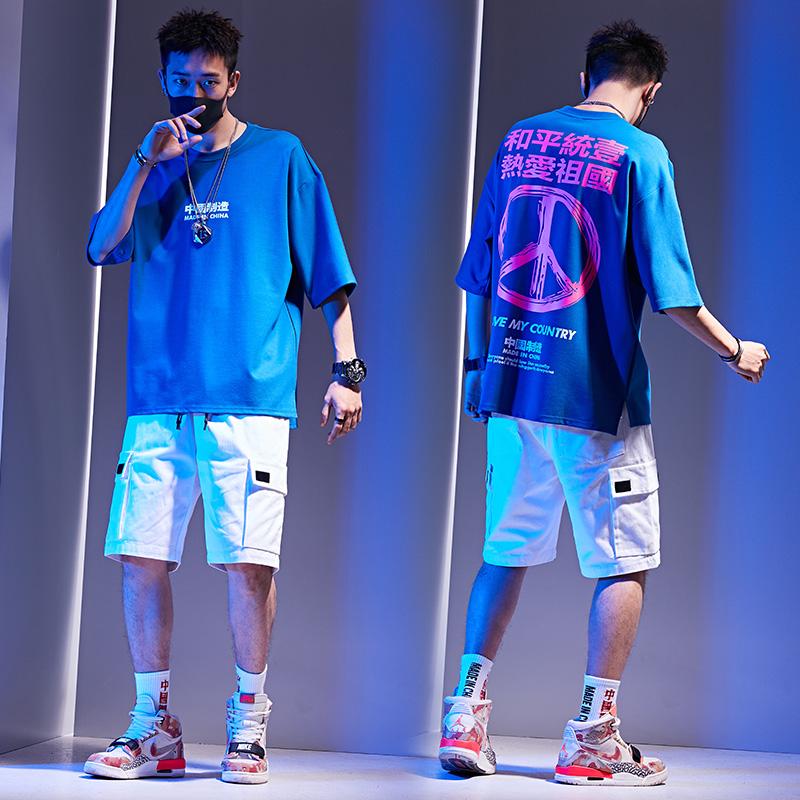 两件套短袖男t恤宽松夏季2019新款韩版潮流休闲男士套装工装衣服