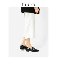 PEDRO【新品】低跟鞋PW1-66480014女士金属扣装饰方头粗高跟单鞋