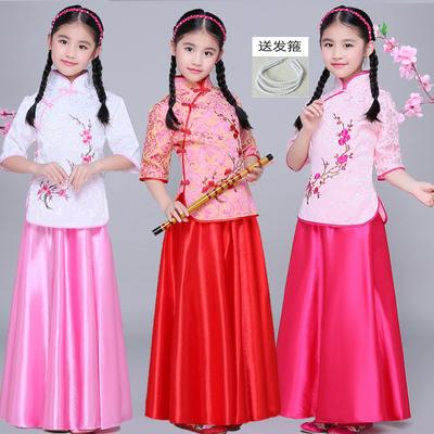 民国儿童服装民国小姐装古筝表演服装演出服戏服五四青年装