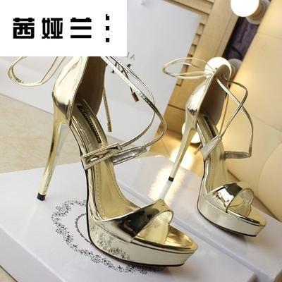 女鞋上新OL性感高跟性感凉鞋包跟细带交叉帮带金色夜店高跟凉鞋银