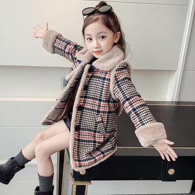 女童呢子大衣秋装2018新款12岁女孩韩版洋气毛绒中长款毛呢外套15