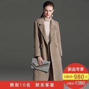2018新款燕麦色双面羊绒大衣女中长款欧美大牌阿尔巴卡羊驼绒外套