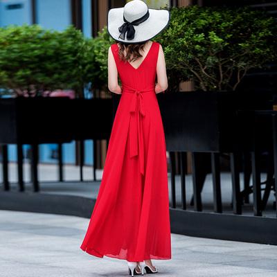 夏天飘逸仙女长裙女2018新款气质雪纺无袖V领系带超仙长款连衣裙
