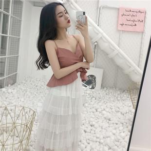夏季新款韩国chic气质显瘦荷叶边V领吊带背心+高腰垂感网纱蛋糕裙