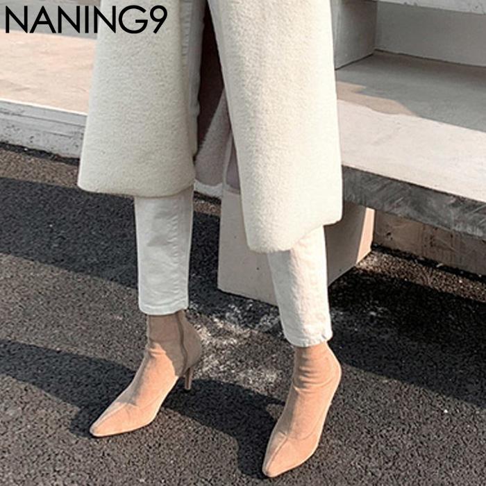 N9迷韩国代购官网春装女装正品naning9气质纯色尖头高跟鞋女鞋子
