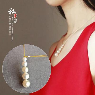 天然正圆强光珍珠五珠14K包金丝线保色防过敏时尚项链女带包装盒