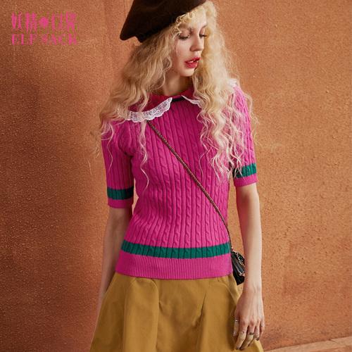 短袖修身打底衫秋装通勤蕾丝翻领薄款套头保暖撞色气质毛衣短款女
