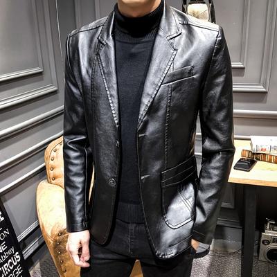 休闲皮西装男修身韩版帅气机车薄外套新款秋季潮单件西服单西皮衣