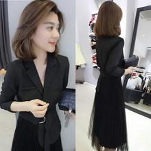 欧洲站春装女装2019新款欧货潮韩版气质黑色连衣裙中长款收腰裙子图片