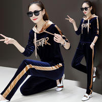 Gold velvet suit female plus size plus velvet thickening ladies fashion new casual sports two-piece warm warm clothes
