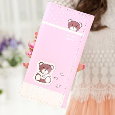 女士钱包女长小熊款 日韩版简约小清新学生女式小钱包零钱包 皮夹领取优惠券