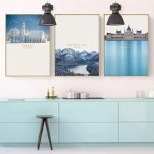 客厅入户玄关沙发背景墙装饰画现代简约高档餐厅卧室挂画北欧风景