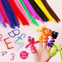 Kindergarten school manual DIY wool tops Making toys color velvet sticks 100 hair root twist rods