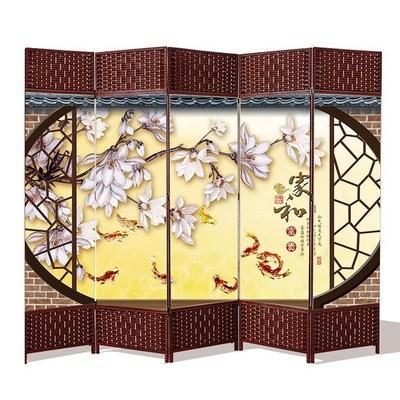 屏风隔断折叠移动客厅中式屏风饭店餐厅包间家用卧室办公室布艺墙