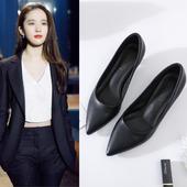 职业工作女鞋真皮方跟粗跟低中高跟细跟尖头面试正装小码单鞋皮鞋