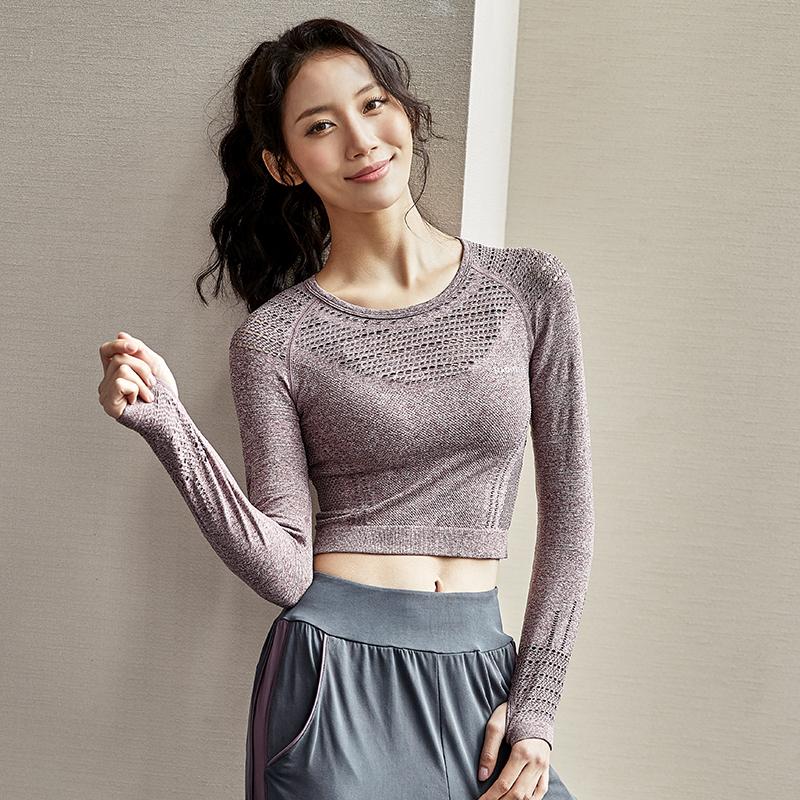 dcw健身上衣女紧身显瘦速干运动长袖露脐性感网红跑步训练瑜伽T恤