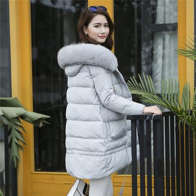 2017冬季新款missfofo18577中长款羽绒服女加厚狐狸毛领修身外套