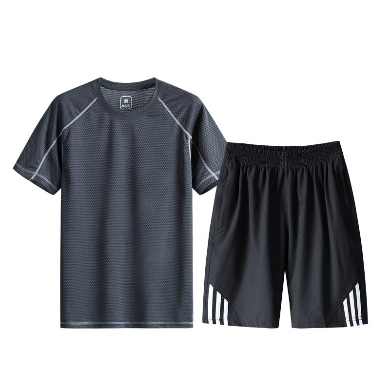 运动套装男土夏季中年跑步运动装速干运动服爸爸休闲大码短袖两件