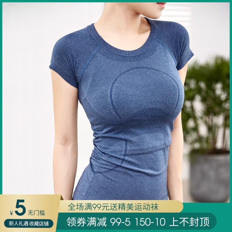 健身户外运动T恤女短袖圆领休闲T透气吸湿速干弹力紧身瑜伽上衣夏