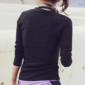 迪卡侬速干健身服女长袖外套显瘦跑步上衣运动紧身衣瑜伽打底修身