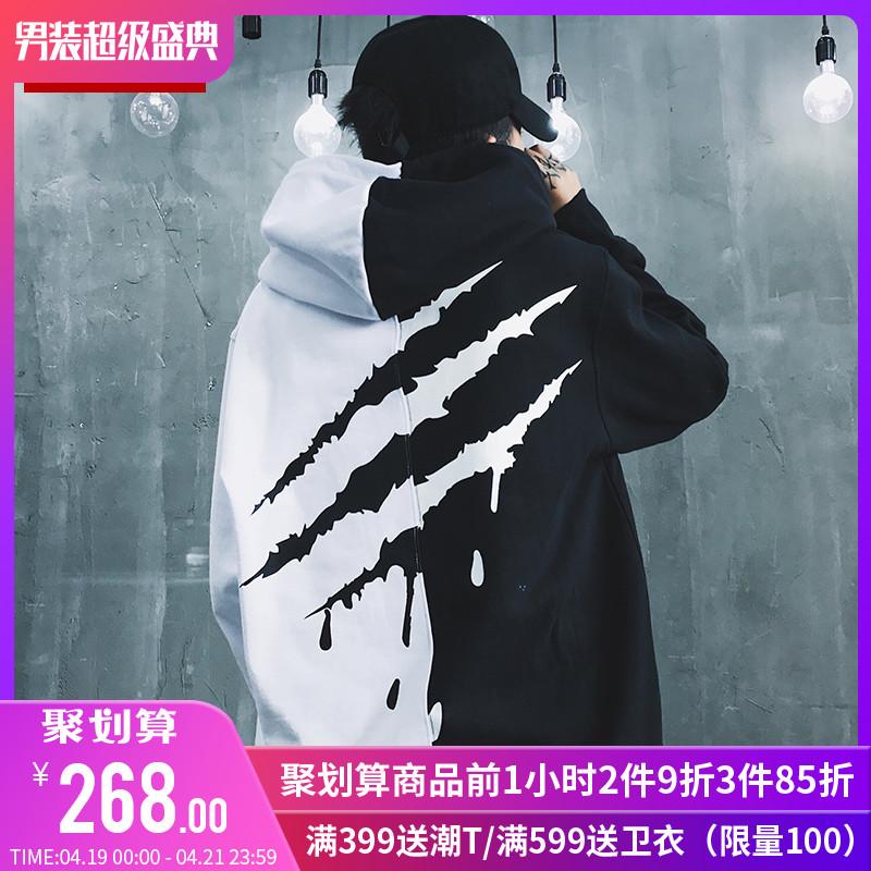 SuaMoment一代血爪痕抓痕加絨加厚拼接衛衣男女連帽情侶帽衫國潮圖片