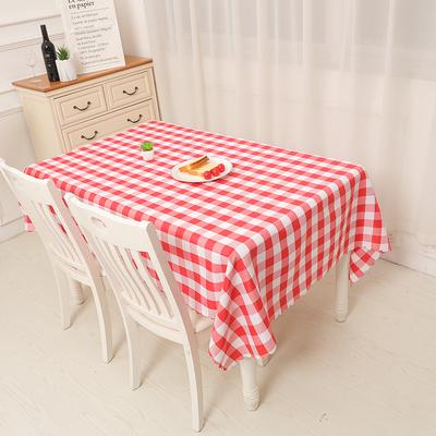 格子桌布布艺野餐布田园茶几布长方形圆桌酒店台布绿色红色格子布