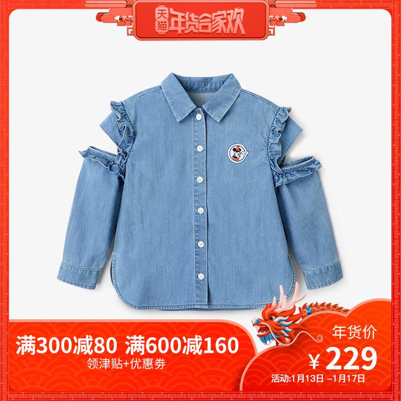 英氏女宝衬衫 长袖韩版牛仔衫女童露肩上衣迪士尼系列 188A6158