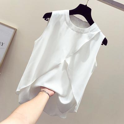 无袖雪纺上衣女夏2018新款超仙气质飘逸遮肚子甜美小清新洋气小衫