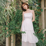 [Wind] seaside vacation super fairy niche ins first love sling cake skirt dress travel light wedding dress