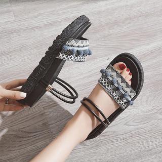 2019夏季新款休闲凉鞋女仙女风学生百搭平底时尚漏趾两穿凉拖鞋潮