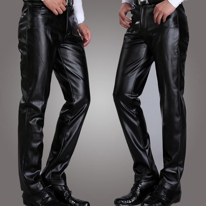 冬季新款韩版休闲大码男士爸爸皮裤加绒摩托车PU青年修身中腰长裤