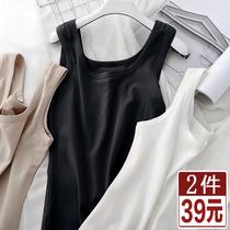 小吊带背心女夏季纯棉紧身运动工字打底上衣无袖内搭美背黑色外穿