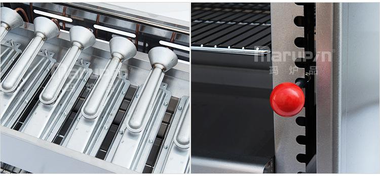 台式燃气面火炉 红外线烤箱 商用六头煤气烤炉 升降液化气烤鱼肉