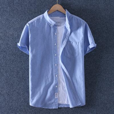 帝族夏薄款纯棉牛津纺男装休闲短袖衬衫男士全棉牛仔半袖衬衣