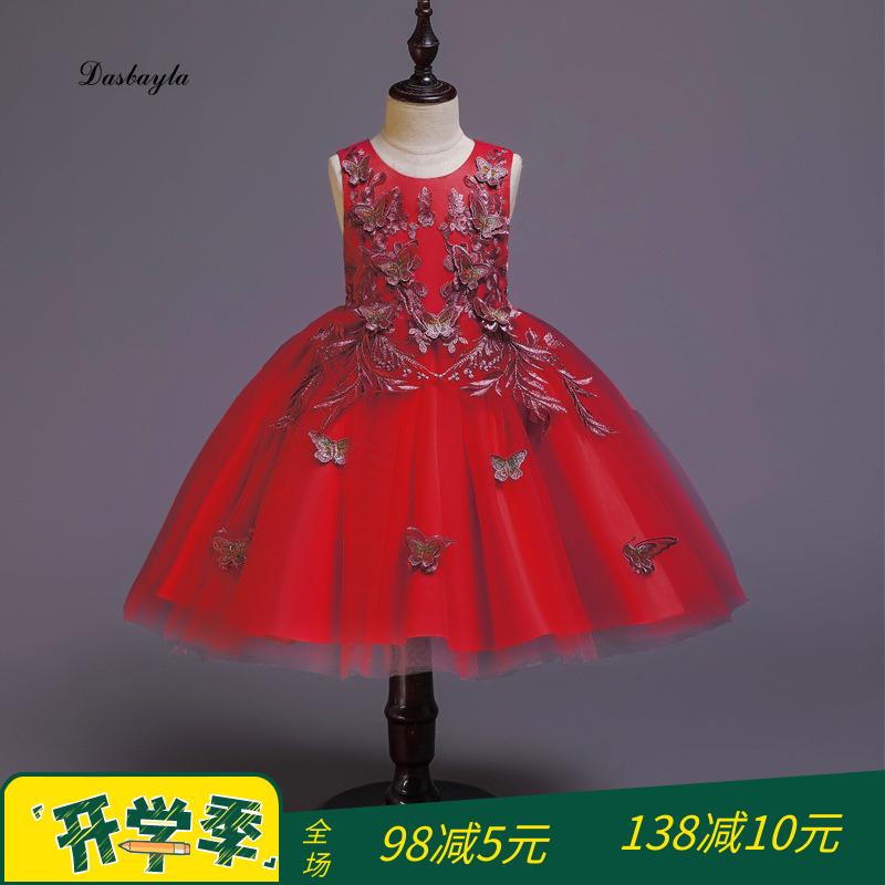 走秀钢琴小女孩蓬蓬纱演出服花童礼服