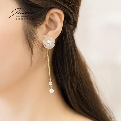 花朵流苏一款两戴耳环 女气质韩国个性百搭长款吊坠简约超仙耳坠