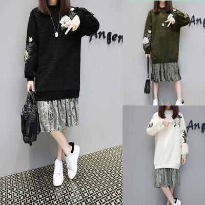 香港潮牌欧洲站新款宽松显瘦刺绣羊羔毛裙子绒压褶假两件连衣裙女