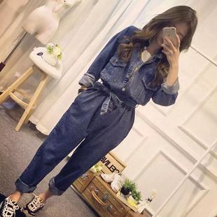 韩国畅销秋装新款女装宽?#19978;?#30246;大码工装牛仔连体裤收腰系带长裤潮