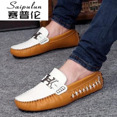 夏季皮鞋鞋男鞋鞋金黄商务鞋子休闲鞋鞋豆豆鞋软底一脚蹬低
