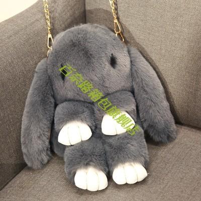 韩版仿獭兔毛小兔子毛绒背包女生装死公仔兔玩偶包单肩斜挎双肩包
