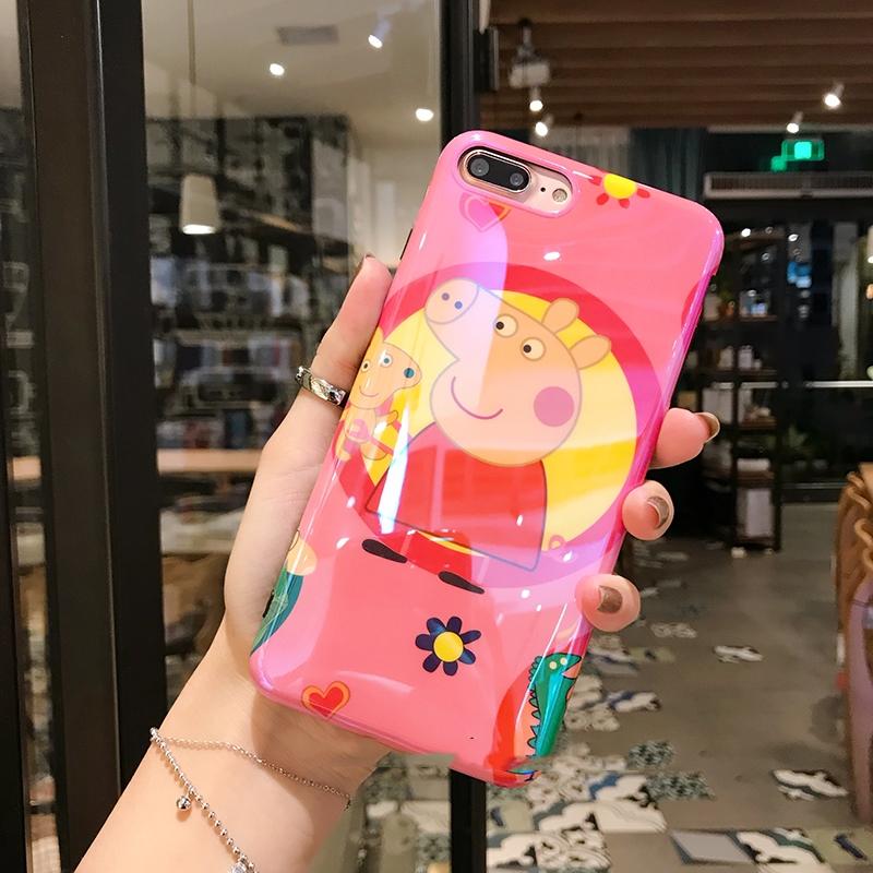 小猪佩奇社会人iPhoneX蓝光手机壳可爱7/8plus卡通苹果6s抖音情侣