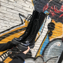 Fall and Winter 2018 New High Boots Flat Bottom Thick sole Shoes Habitat Wind But Knee Martin Boots Motorcycle Boots Children High Boots