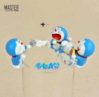 全新正版散货 哆啦手办A梦 机器猫叮当猫 公仔手办摆件 杯沿杯友