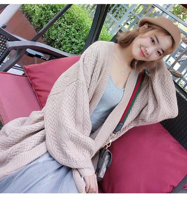秋季中长款长袖2018新款女装毛衣针织开衫宽松大码麻花上衣外套