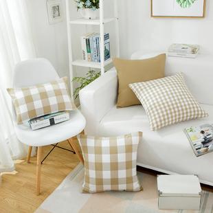 北欧风格简约现代长条纹格子沙发抱枕套长方形靠垫地中海靠枕布艺