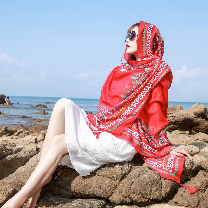 防晒披肩夏季沙滩巾海边超大纱巾复古长款丝巾女百搭春秋红色围巾