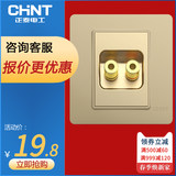 Zhengtai Champagne gold audio socket panel 86 type dark two-way sound two-head speaker wall plug speaker interface